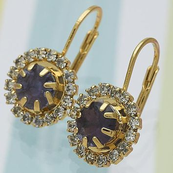 Gold Layered Women Flower Leverback Earring, with Sapphire Blue Cubic Zirconia, by Folks Jewelry