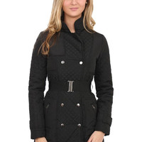 Faith Quilted Panel Padded Jacket in Black