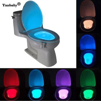 Motion Activated Sensor Toilet Lamp/Light;  8 Colors LED Battery-Operated