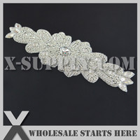 (34cm Length) Beaded Bridal Rhinestone Applique Patch With  Iron On Backing for Sash,Wedding Bridal Dress Decoration,X1-RAT2493