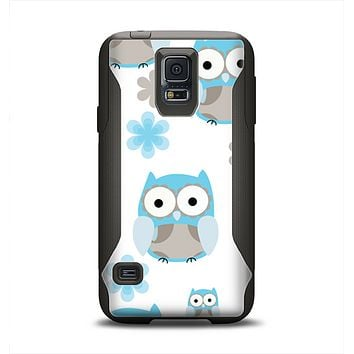 The Subtle Blue Cartoon Owls Samsung Galaxy S5 Otterbox Commuter Case Skin Set