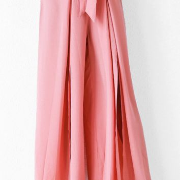 On The Plaza Pink Pleated Split Tie Belt Elastic Waist Loose Wide Leg Pants