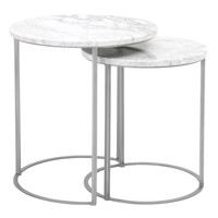 Marble Top Round Nesting Table With Brushed Steel Gray Base, White, Set Of Two - SIF-6105-BSTL-WHT