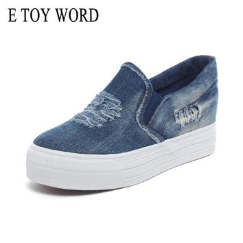 E TOY WORD Spring Increased Cowboy Women Casual Shoes Low Help Students Set Foot Thick Canvas Shoes Loafers Zapatillas Mujer