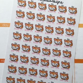 "Life planner little fox ""Sleep in and Naptime "" stickers"