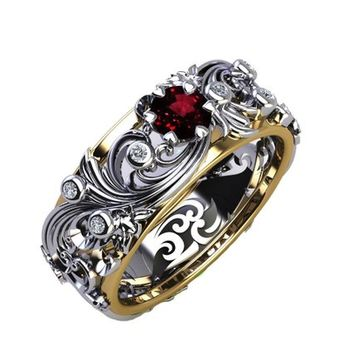 Floral Band Ring Asian Ruby Ring Silver Diamond Ring Milgrain Ring Art Nouveau unique Ring Engraved Ring Flower Band Leaves Anniversary Ring