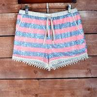 Pink/Blue Sequin Shorts