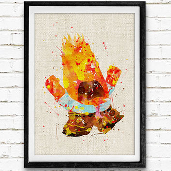 Inside Out Anger Poster, Emotions Disney Watercolor Art Print, Kids Decor, Wall Art, Home Decor, Gift, Not Framed, Buy 2 Get 1 Free!
