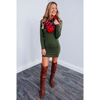 Fall In Line Dress: Olive
