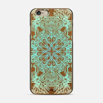 Vintage Fancy - Aqua & Mint on Wood iPhone 6 case by Micklyn Le Feuvre | Casetify
