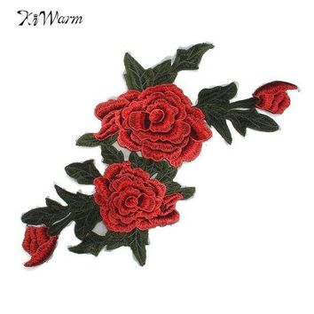 PEAP78W New 3D Flower Patch Clothing Accessories Red Flowers Embroidery Applique Decoration Accessories Hotfix Jean Patches