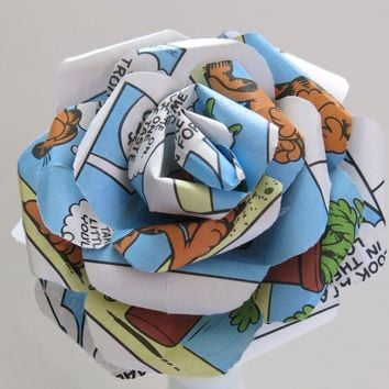 """One Large comic book paper rose  4"""" bloom on stem colorful comic strip anime cartoon upcycled art"""