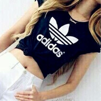 Women Fashion Adidas T-Shirt Top Black