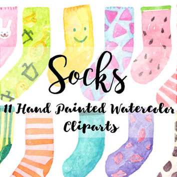 Socks Watercolor Clipart Digital File kids party Download decoration digital kids birthday invitation printable print