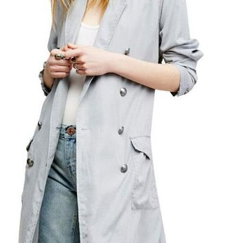 Fashion Drawstring Slim Coats Women Long Sleeve Female Long Line Outwear Turn-down Collar Solid Trench Coats