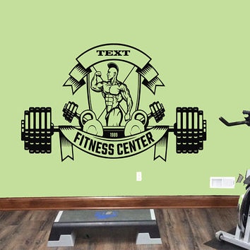 Custom Fitness Center Logo Wall Decal, Fitness Center Wall Sticker, Garage Gym Wall Decor, Gym Bodybuilding Decoration, Gym Wall Mural se083