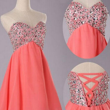 Chiffon Lace-up Beading Homecoming Dress