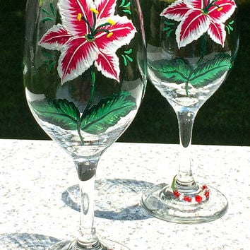 Hand Painted Wine Glasses With Red Flowers and Crystal Wine Glass Charms, Birthday Gift, Wedding Gift, Anniversary Gift, Wedding Glasses