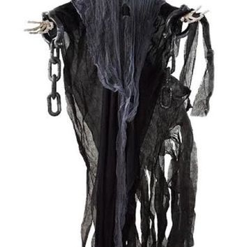 "64"" Lighted Black Reaper with Chains Animated Hanging or Standing Halloween Decoration with Sound"