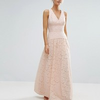 Little Mistress Petite Allover Lace Full Prom Maxi Dress at asos.com