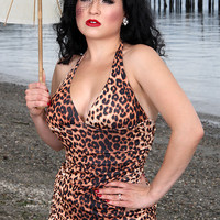 Retro Swimwear | Broad Minded Clothing Marilyn in the Maldives Leopard Print Halter Pinup Swimdress with Ruched Sides & Ruffle Bottom