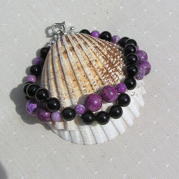 "Black Onyx & Purple Sugilite Crystal Gemstone Bracelet - ""Black Heather"""