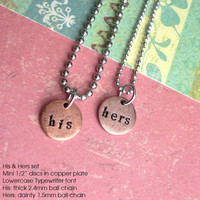 "HIS & HERS .Soul Mate .18"" necklace set. Couples, Boyfriend Girlfriend, Wedding, Engagement Customize Tag, Personalize, Monogram, Initial,"