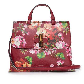 ONETOW GUCCI Bamboo Shopper Blooms Leather Tote Bag Red