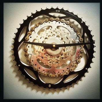 Bike Gear Clock Bicycle Gear Clock Bike Gear Wall Clock Recycled Bike Parts Clock Cyclist Clock Steampunk Clock Cycling Clock