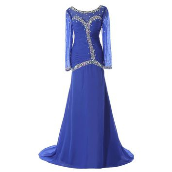 Rhinestones Bling Crystal Mermaid Scoop Black Evening Gowns 2017 Long Front Split Sparkly Beading  Royal Blue Evening Dresses
