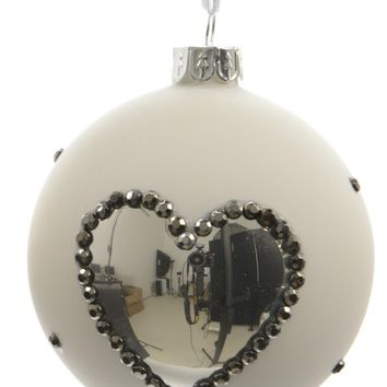 """Set of 3 Winter Light White with Silver Heart Glass Christmas Ball Ornaments 3"""" (80mm)"""
