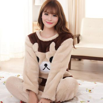 High Quality Women And Man Home Clothes Brown Beige Couples Matching Pajamas Warm Coral Fleece Pajamas Nightwear Pyjama