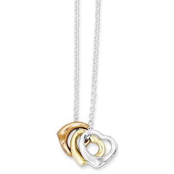 Sterling Silver Polished Three-tone Heart Necklace