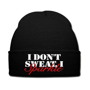 i don't sweat i sparkle snapback hat knit hat beanie i don't sweat i sparkle
