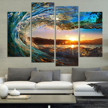 4 Panel Modern Seascape Painting Canvas Art HDSea wave Landscape Wall Picture For Bed Room Unframed F213