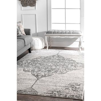 20028 Gray Distressed Vintage Medallion Oriental Area Rugs