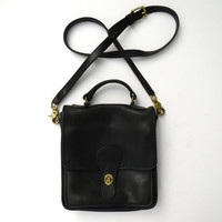 Black Leather Coach Purse // Coach Station Bag // Messenger Bag