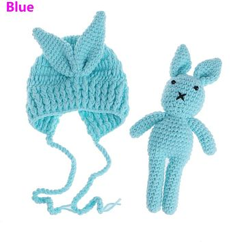 Newborn Baby Girl Boy Knit Crochet Hat Rabbit Toy Photography Prop Outfit Gift