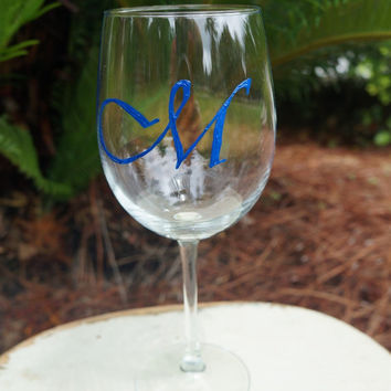 Personalized Monogram Lettering Wine Glass -  Hand Painted Wine Glass