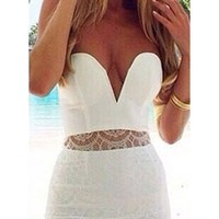 White Plunging Sweetheart Sleeveless Lace Panel Inset Scalloped Hem Fitted Mini Dress