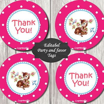 Editable-baby monkey Gift Tags Printables - Personalized - pink dots deer Gift Tag