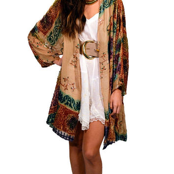 Champagne Multicolor Velvet Burnout Gypsy Kimono Jacket