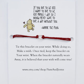 Best Friend Wish Bracelet W/ Winnie the Pooh (Best Friends, Love, Gift for a Friend, Gift, Bracelet, Quote, Pooh, Cute Gift)