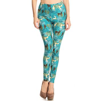 Women's Regular Deer Pattern Printed Leggings - Christmas Gift