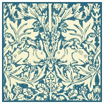 Brother Rabbits Hares in Blues by William Morris Design Counted Cross Stitch or Counted Needlepoint Pattern