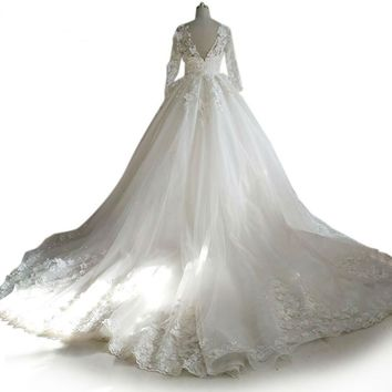 Tulle 3D flower long sleeves bridal gowns Beads Crystal Royal train custom size Wedding Dresses