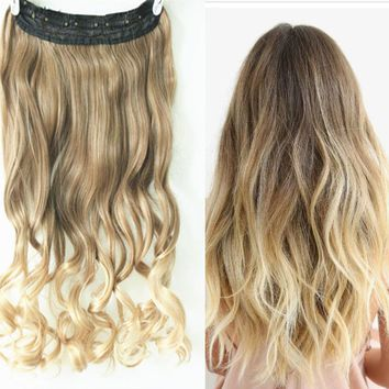 """22"""" One Piece Straight Ombre Clip in Hair Extensions 2 Tones brown to blonde"""