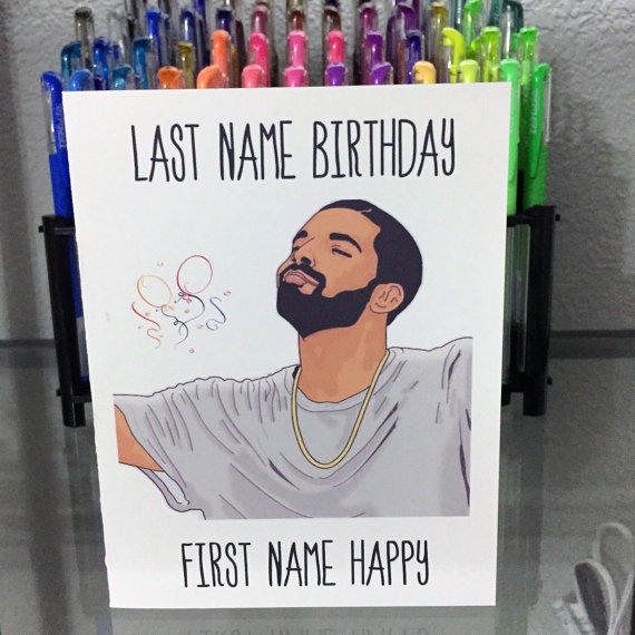 Drake Birthday Card, Funny Birthday Card, From YeaOhGreetings On