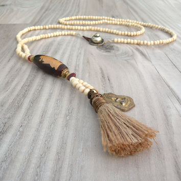 Long Mala Tassel Necklace, Rust and Cream, Om Mani Padme Hum Dzi Bead, Buddha Amulet