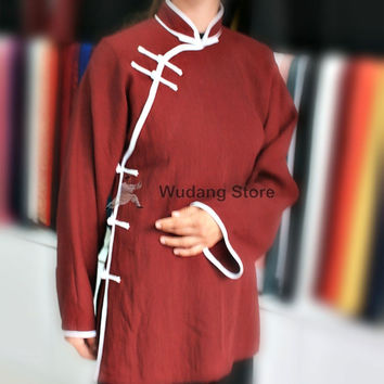 Diagonal Maroon Tai Chi Shirt with Outerlines